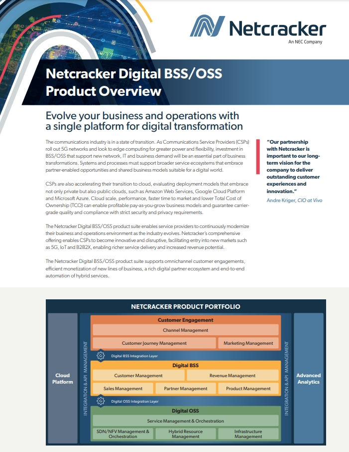Netcracker Digital BSS/OSS Product Overview