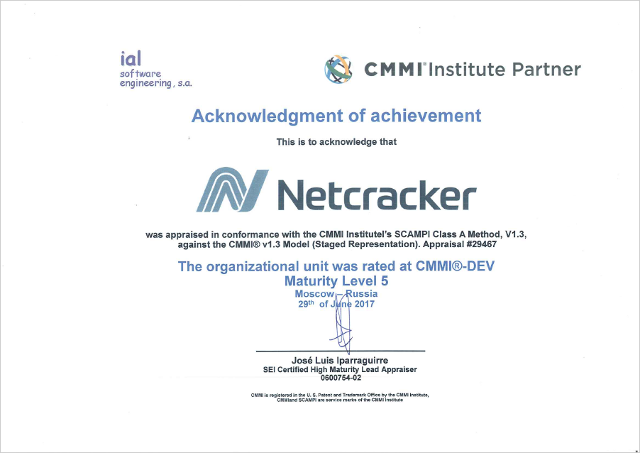 Netcracker - CMMI Level 5 Appraisal